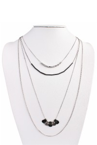 S6-4-4-AHDN1451BS BURNISH SILVER FOUR LAYERED NECKLACE/6PCS