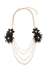 S7-6-3-AHDN1493BK BLACK FLORAL ACCENT NECKLACE/6PCS