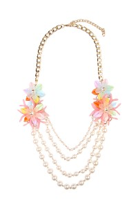 S7-6-3-AHDN1493MT MULTICOLOR FLORAL ACCENT NECKLACE/6PCS