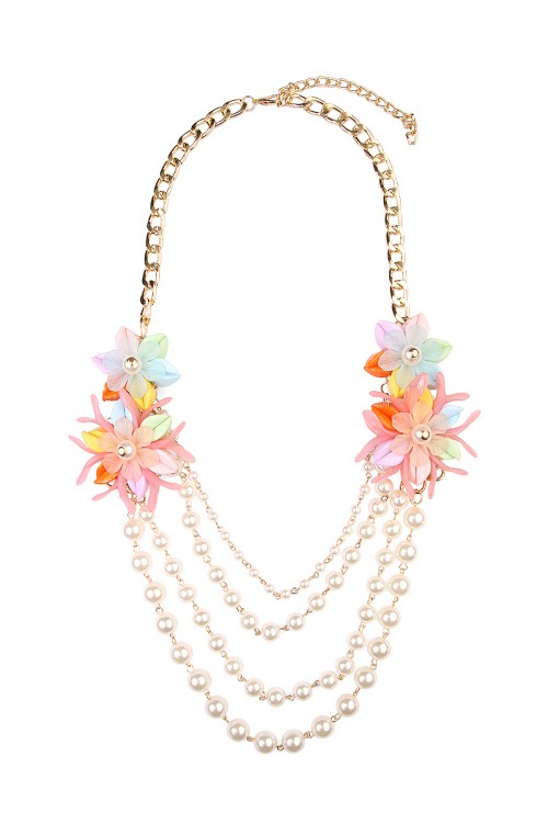 A2-3-3-AHDN1493MT MULTICOLOR FLORAL ACCENT NECKLACE/6PCS