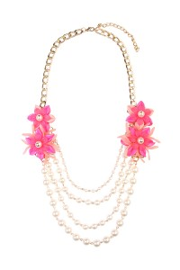 S7-6-2-AHDN1493PK PINK FLORAL ACCENT NECKLACE/6PCS