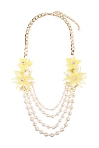 S7-6-3-AHDN1493YWY ELLOW FLORAL ACCENT NECKLACE/6PCS