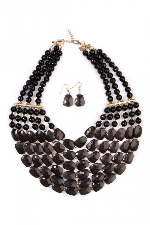 SA4-3-2-AHDN1508BK BLACK SIX LINE CHOKER BIB NECKLACE AND EARRING SET/6SETS