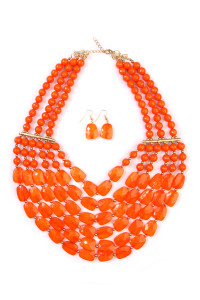SA4-3-2-AHDN1508CO CORAL SIX LINE CHOKER BIB NECKLACE AND EARRING SET/6SETS