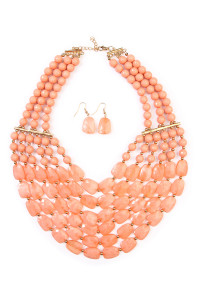 SA4-2-4-AHDN1508DPK DUSTY PINK SIX LINE CHOKER BIB NECKLACE AND EARRING SET/6SETS