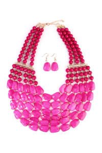 SA4-3-2-AHDN1508HPK HOT PINK SIX LINE CHOKER BIB NECKLACE AND EARRING SET/6SETS