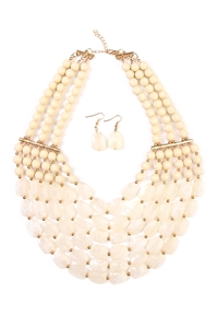 S6-5-1-AHDN1508NA NATURAL SIX LINE CHOKER BIB NECKLACE AND EARRING SET/6SETS