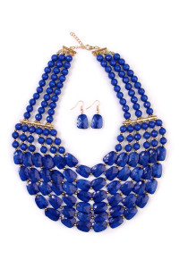 SA4-3-2-AHDN1508SP SAPPHIRE SIX LINE CHOKER BIB NECKLACE AND EARRING SET/6SETS