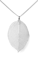 A2-3-5-AHDN1513LS LIGHT SILVER LARGE LEAF PENDANT NECKLACE/6PCS
