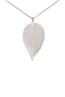 S6-6-3-AHDN1513R LEAF PENDANT NECKLACE-SILVER/6PCS