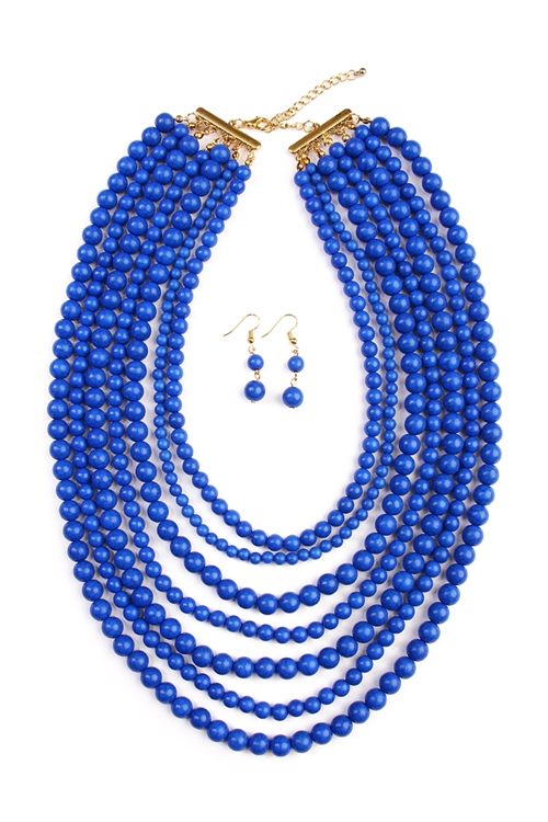 C-6-2-HDN1519BL BLUE BEAD STRAND NECKLACE AND EARRING SET/6PCS