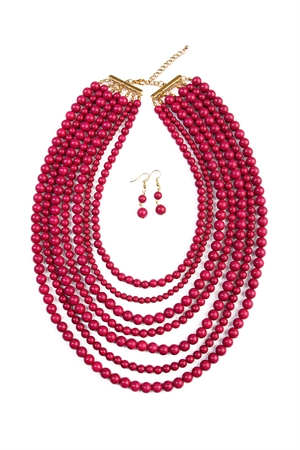 S4-5-4-AHDN1519PM PLUM BEAD STRAND NECKLACE AND EARRING SET/6SETS