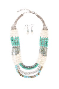 S7-6-3-HDN1579R TURQUOISE BEAD NECKLACE-SILVER/6PCS