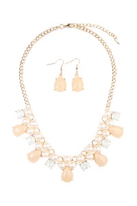 S5-6-3-AHDN1617TP TAUPE TEARDROP BEADED STATEMENT NECKLACE AND EARRING SET/6SETS