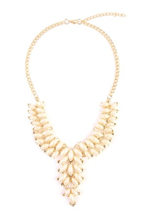 S7-6-3-AHDN1776 PEARL STATEMENT NECKLACE/6PCS