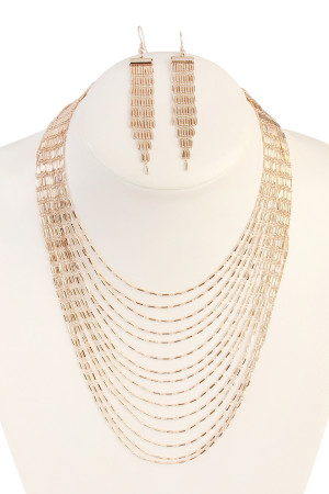S5-5-4-AHDN1804G GOLD MULTILAYER BRASS NECKLACE AND EARRING SET/6SETS