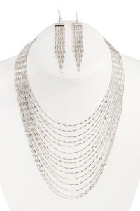 S6-4-2-AHDN1804R SILVER MULTILAYER BRASS NECKLACE AND EARRING SET/6SETS