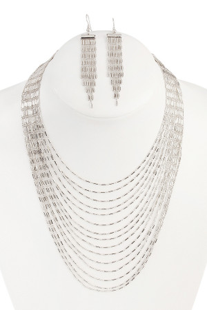 S5-5-4-AHDN1804R SILVER MULTILAYER BRASS NECKLACE AND EARRING SET/6SETS
