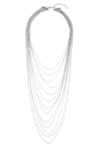 SA4-1-2-AHDN1826R SILVER BRASS METAL 13-LAYERED NECKLACE/6PCS
