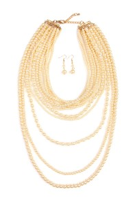 S6-5-3-AHDN1827CH-PEARL LAYER NECKLACE AND EARRING SET-CHAMPAGNE/6PCS