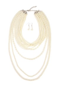 S6-5-3-AHDN1827NA-PEARL LAYER AND NECKLACE EARRING SET-NATURAL/6SETS
