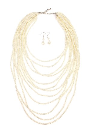 S7-6-3-AHDN1828CH GLASS PEARL 12 LAYERED NATURAL NECKLACE AND EARRING SET/6SETS