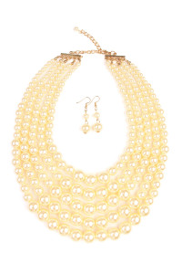 S6-6-3-AHDN1829CH CHAMPAGNE CHUNKY PEARL NECKLACE AND EARRING SET/6SETS