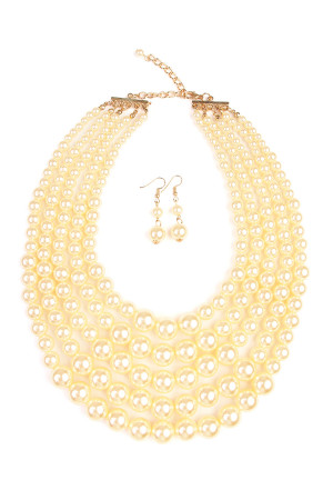 S4-6-2-AHDN1829CH CHAMPAGNE CHUNKY PEARL NECKLACE AND EARRING SET/6SETS