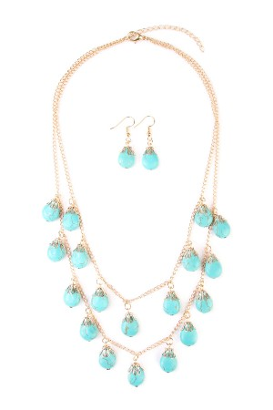 S7-6-2-AHDN1851G TURQUOISE LAYERED NECKLACE AND EARRING SET/6SETS