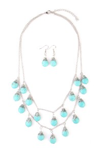 S7-6-2-AHDN1851S SILVER TURQUOISE LAYERED NECKLACE AND EARRING SET/6SETS