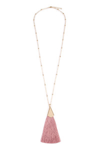 S4-4-3-AHDN1861DPK DUSTY PINK TASSEL NECKLACE/6PCS
