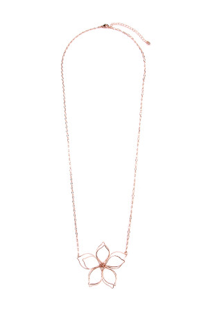 S5-4-2-AHDN1928RG ROSE GOLD WIRED FLOWER CHAIN NECKLACE/6PCS
