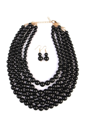 S6-6-3-AHDN2038BK BLACK MULTILAYER BEAD BIB STATEMENT NECKLACE AND HOOK EARRING SET/6SETS