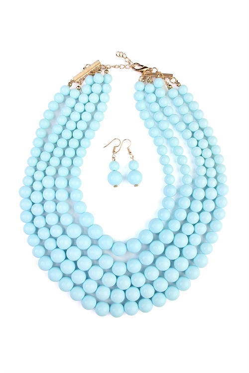 S5-6-3-AHDN2038LBL-MULTILAYER BEAD BIB STATEMENT NECKLACE AND HOOK EARRING SET- LIGHT BLUE/6PCS