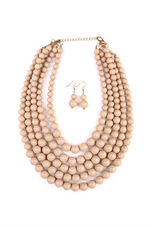 211-4-4-AHDN2038LBR LIGHT BROWN MULTILAYER BEAD BIB STATEMENT NECKLACE AND HOOK EARRING SET/6PCS