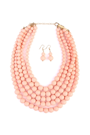 S5-6-4-AHDN2038PE PEACH MULTILAYER BEAD BIB STATEMENT NECKLACE AND HOOK EARRING SET/6PCS