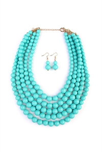 S4-5-4-AHDN2038TQ TURQUOISE MULTILAYER BEAD BIB STATEMENT NECKLACE AND HOOK EARRING SET/6SETS