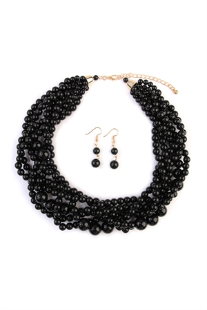 S5-6-5-AHDN2162BK BLACK MULTI STRAND BUBBLE CHOKER NECKLACE AND EARRING SET/6SETS