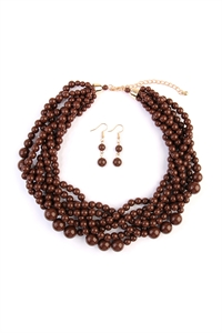 S6-4-1-AHDN2162BR BROWN MULTI STRAND BUBBLE CHOKER NECKLACE AND EARRING SET/6SETS