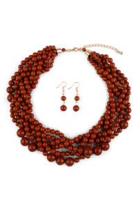 S7-4-2-AHDN2162BRICK BRICK MULTI STRAND BUBBLE CHOKER NECKLACE AND EARRING SET/6SETS
