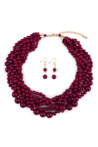 S7-4-3-AHDN2162BU BURGUNDY MULTI STRAND BUBBLE CHOKER NECKLACE AND EARRING SET/6SETS