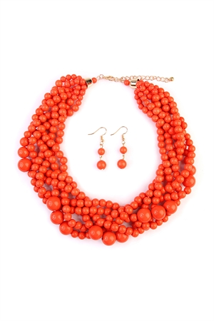 S6-4-1-AHDN2162CO CORAL MULTI STRAND BUBBLE CHOKER NECKLACE AND EARRING SET/6SETS