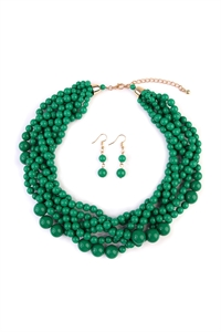 S5-6-5-AHDN2162DEM DARK EMERALD MULTI STRAND BUBBLE CHOKER NECKLACE AND EARRING SET/6SETS