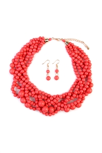 S6-4-1-AHDN2162DPK DUSY PINK MULTI STRAND BUBBLE CHOKER NECKLACE AND EARRING SET/6SETS