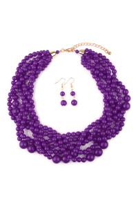 S7-4-2-AHDN2162DPU DARK PURPLE MULTI STRAND BUBBLE CHOKER NECKLACE AND EARRING SET/6SETS