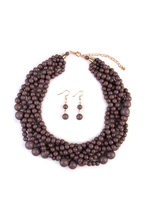 S6-4-1-AHDN2162GY GRAY MULTI STRAND BUBBLE CHOKER NECKLACE AND EARRING SET/6SETS