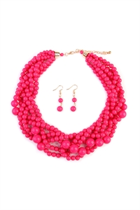 S6-4-1-AHDN2162HPK HOT PINK MULTI STRAND BUBBLE CHOKER NECKLACE AND EARRING SET/6SETS
