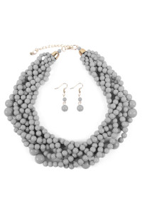 S6-5-3-AHDN2162LGY LIGHT GRAY MULTI STRAND BUBBLE CHOKER NECKLACE AND EARRING SET/6SETS