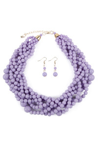 S6-5-4-AHDN2162LV LAVENDER MULTI STRAND BUBBLE CHOKER NECKLACE AND EARRING SET/6SETS