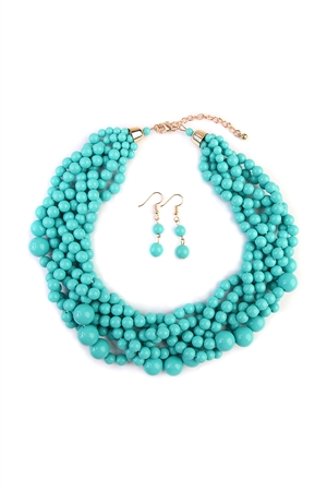 S5-6-5-AHDN2162MN MINT MULTI STRAND BUBBLE CHOKER NECKLACE AND EARRING SET/6SETS